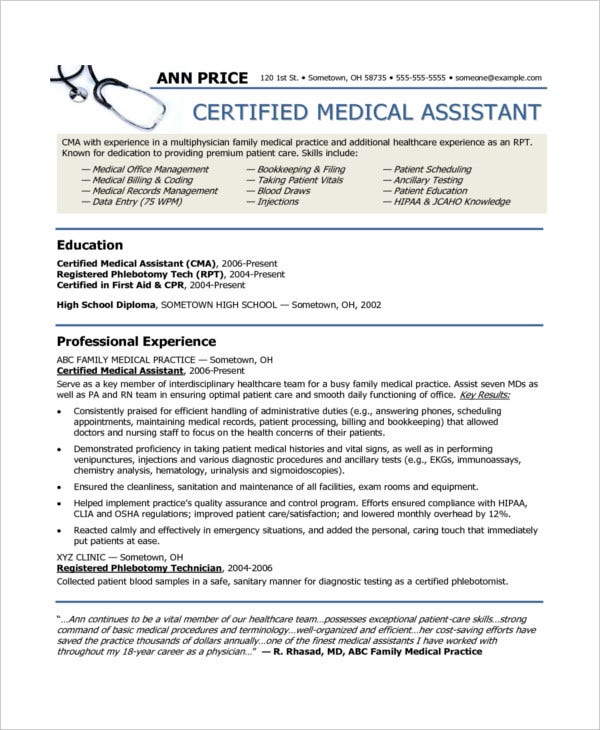 Medical Assistant Resume   Free Sample Example Format  Free