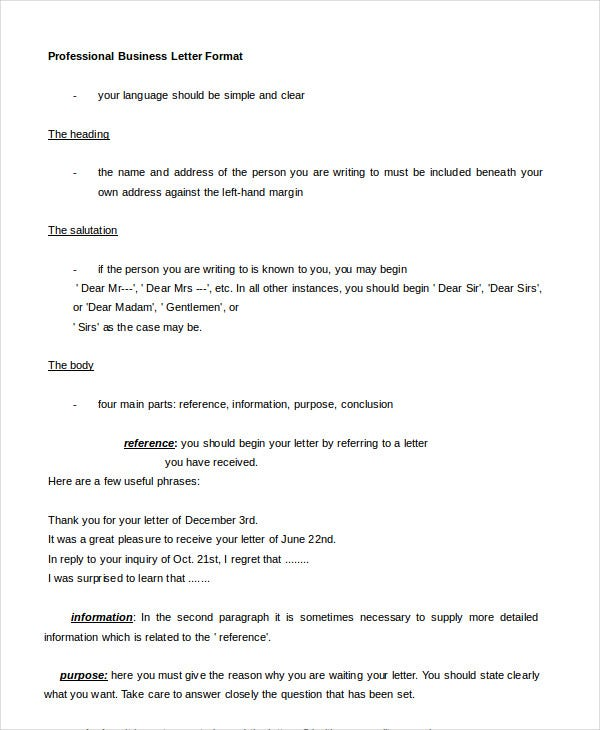 Professional Letter Format 5 Free Word PDF Documents Download – Professional Letter Formats