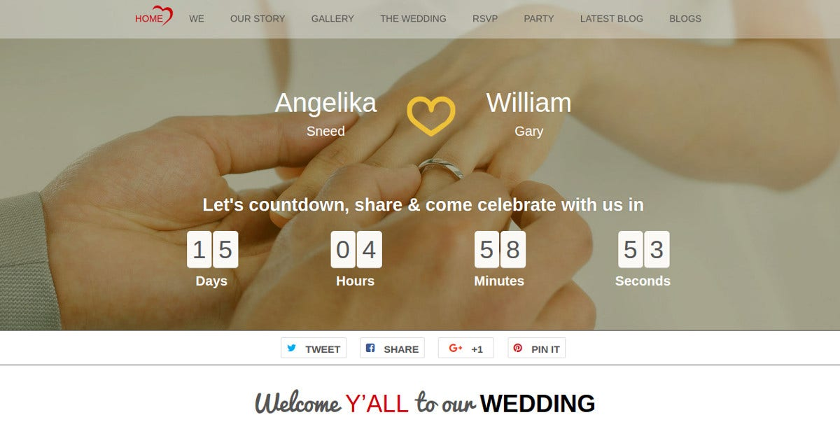 simple modern free wordpress wedding website theme