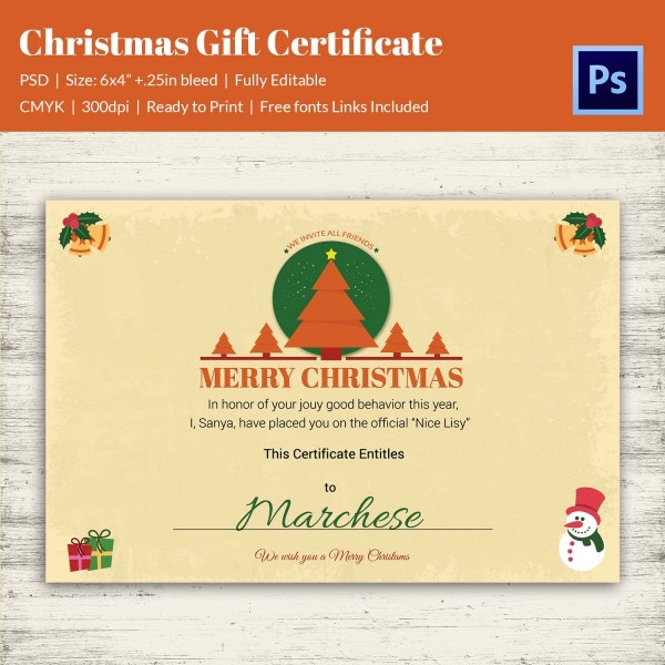 Christmas Gift Certificate Invitation Template