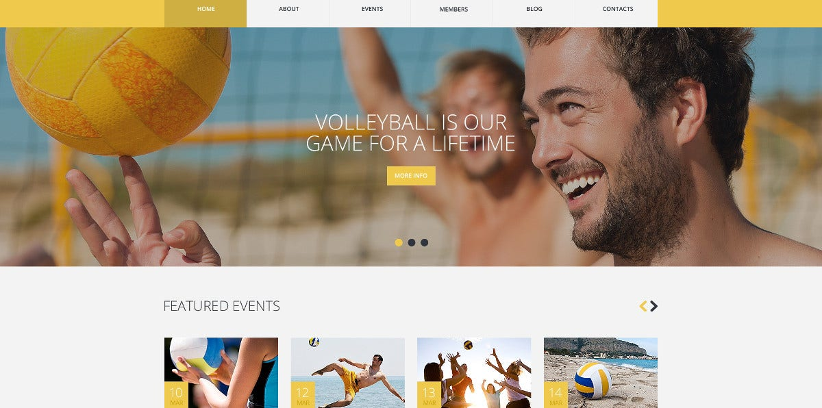 Beach Volleyball Website Template $75