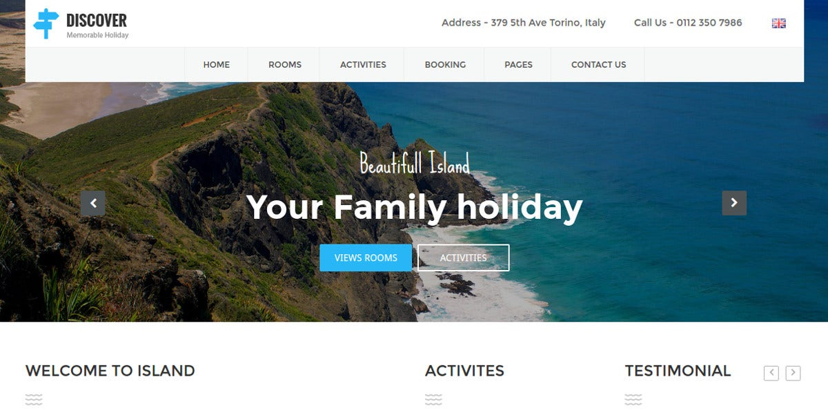 Beach Resort Website Template $12