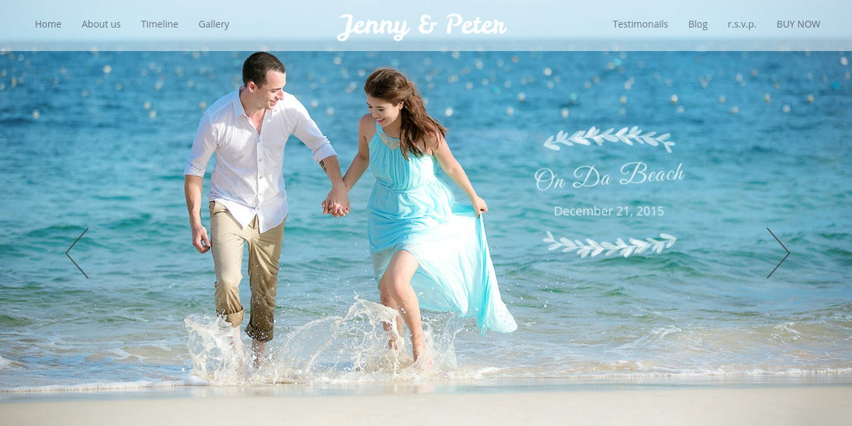 Beach Wedding Website Template $44