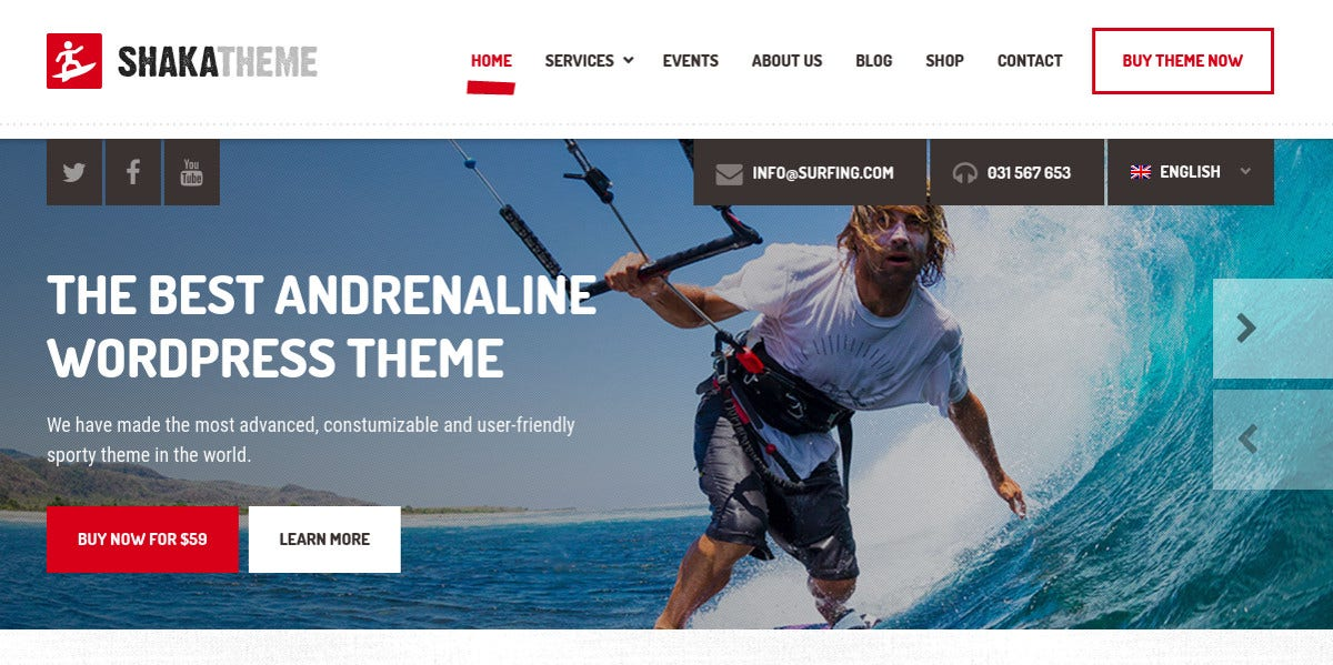 Beach Business WordPress Website Theme $59
