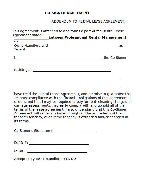 Co Signer Agreement Form For Car Morenpulsar