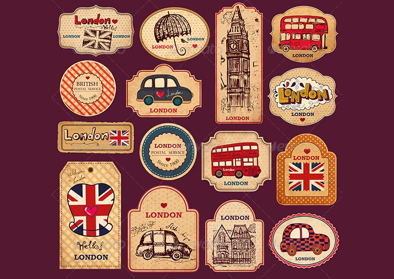 vintage vector tags abels with london symbols