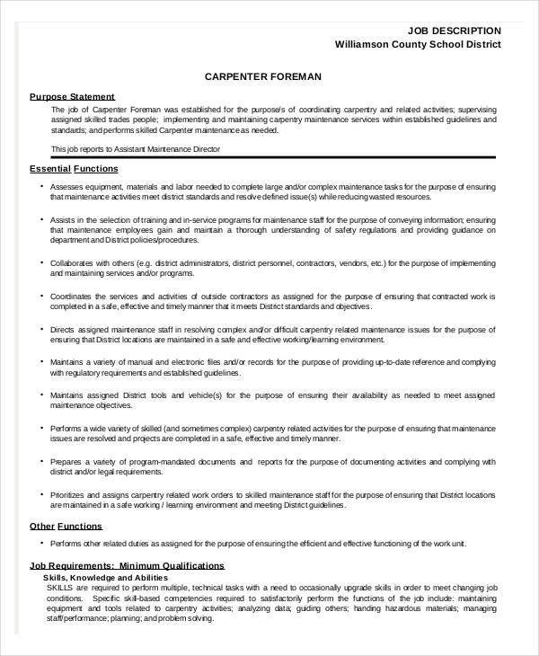 Carpenter Job Description Templates  Pdf Doc  Free  Premium