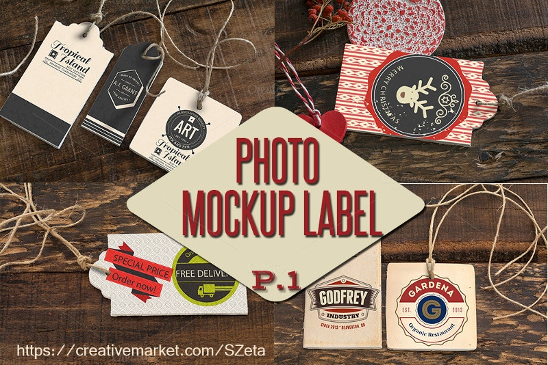 photo mockup tags labels