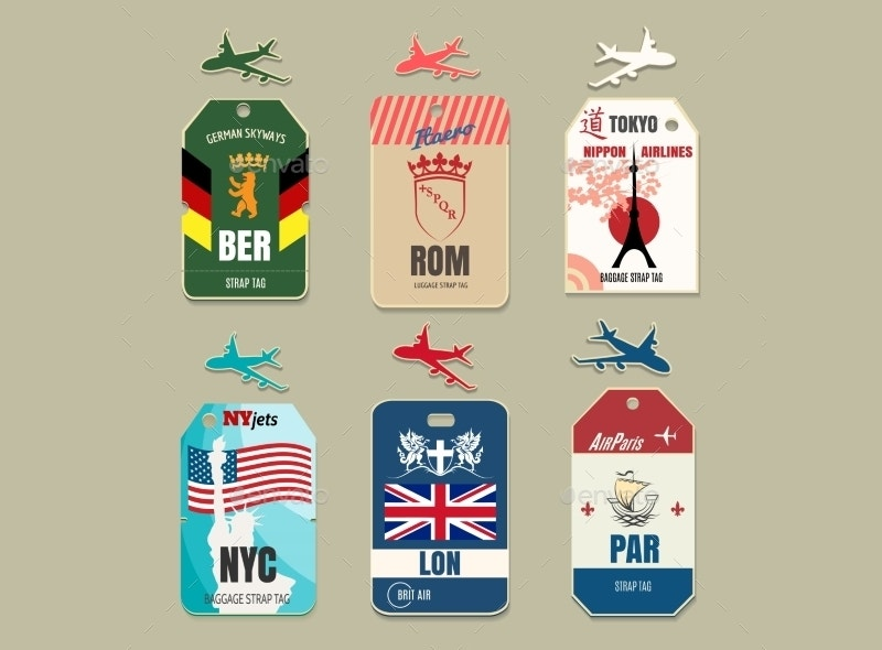 vector illustration vintage luggage tags