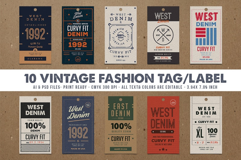 10 vintage fashion tags labels
