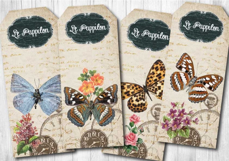 vintage butterfly bookmark tags