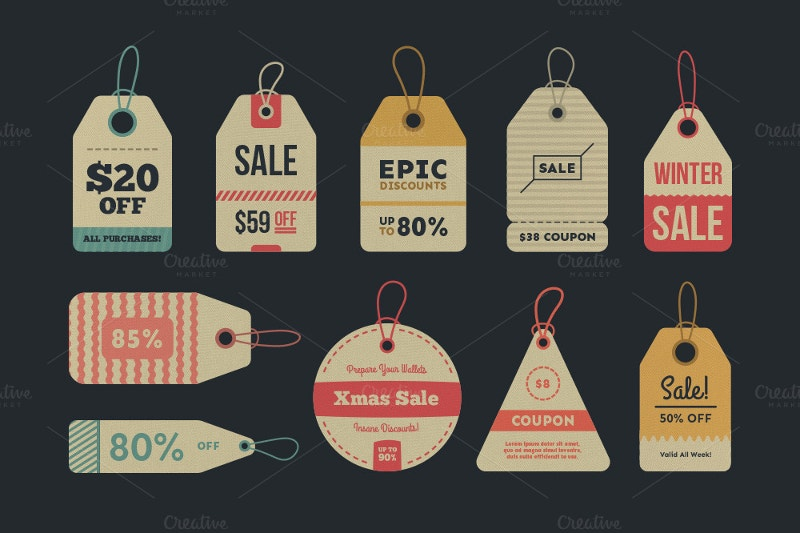 32 vintage sale tags labels