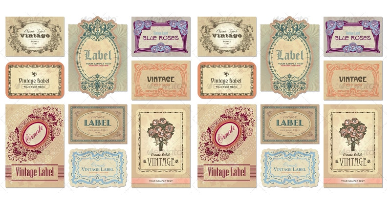 collection of vintage decorative labels