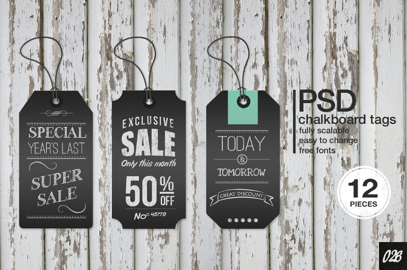 12 chalkboard vintage labels tags