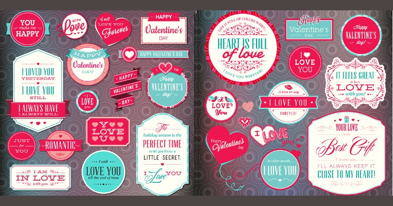 designrd set of love badges and labels