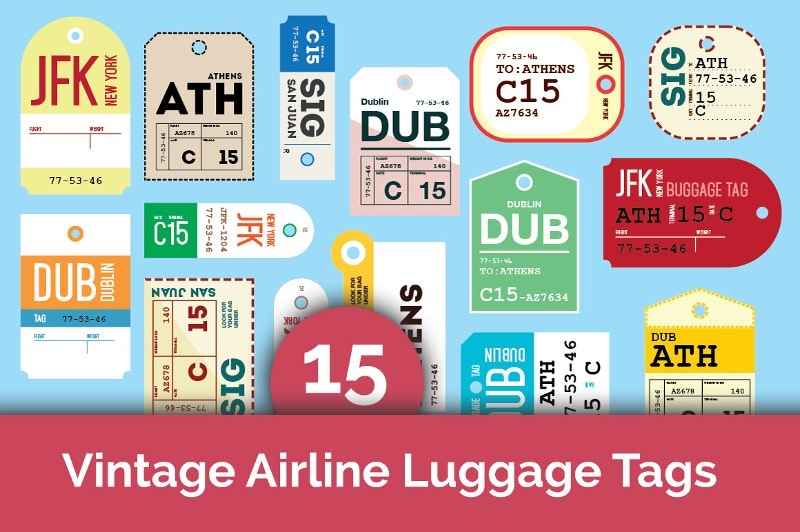 15 vintage airline lebels tags