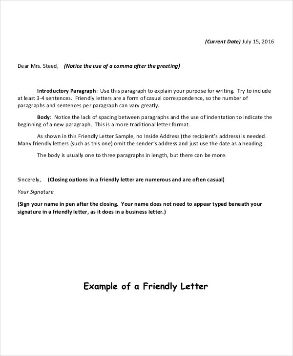 12 Friendly Letter Format Free Sample Example Format Free
