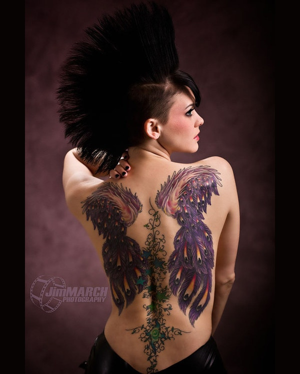 Beautiful Girl Back Coverd Tattoo