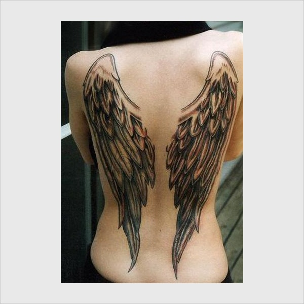 Girl With Wings Tattoo