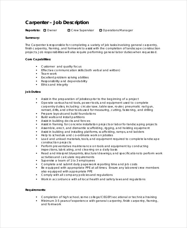 Carpenter Job Description - Free Sample, Example, Format | Free