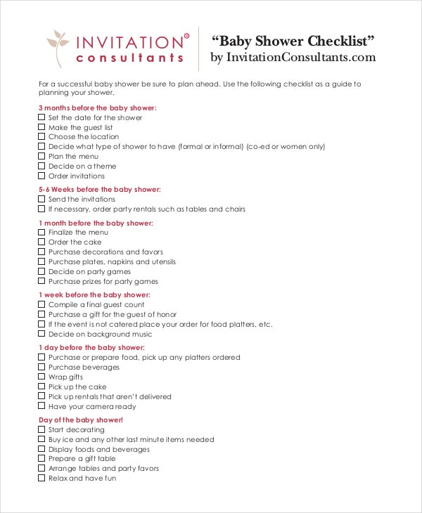 Baby Shower Checklist 5 Free PDF PSD Documents Download – Baby Shower Checklist