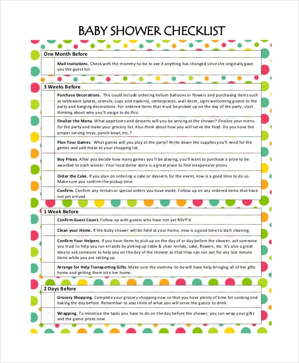 Baby shower checklist printable baby registry checklist for Baby shower decoration checklist