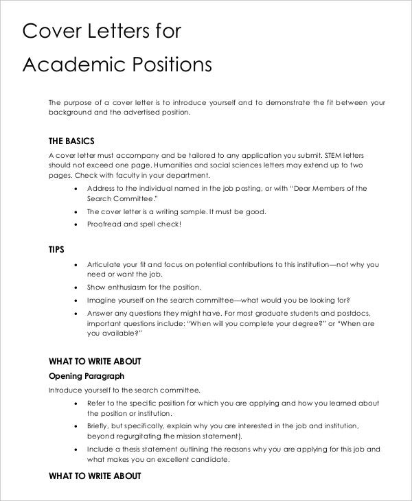 Cover letter 13 free sample example format free for Writing a cover letter for an academic position