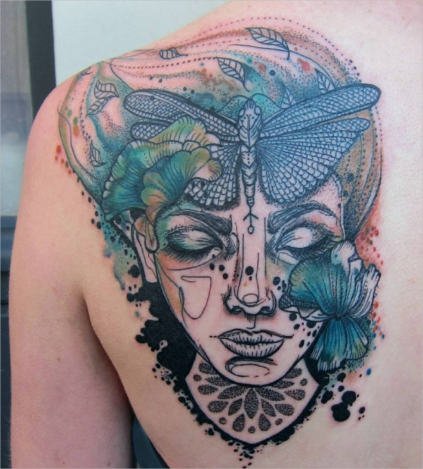 unique lady head and butterfly tattoo