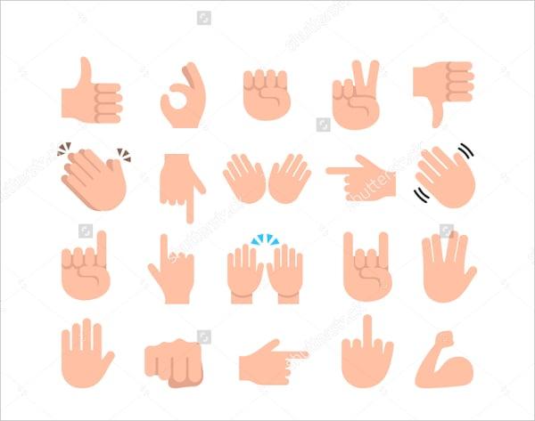 Funny Flat Style Hand Emoji