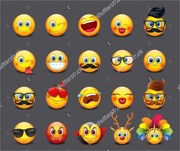 cute emoticon emoji set