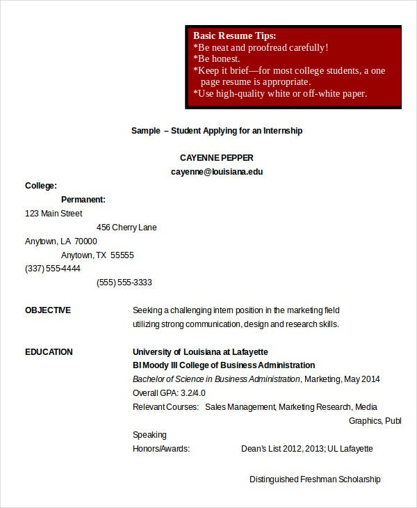 College Student Internship Resume  College Internship Resume Template