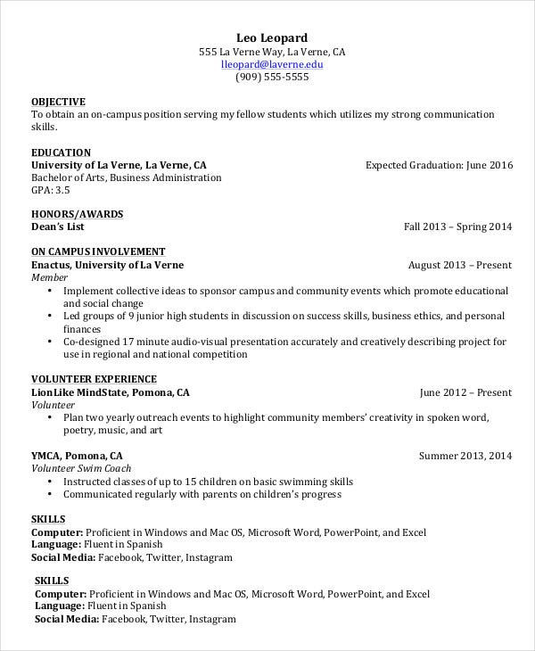 Undergraduate Cv Template Word Student Write Resume Teenagers