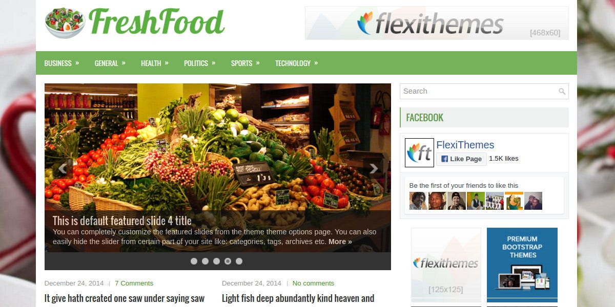 Fresh Food Free Responsive WordPress Website Theme