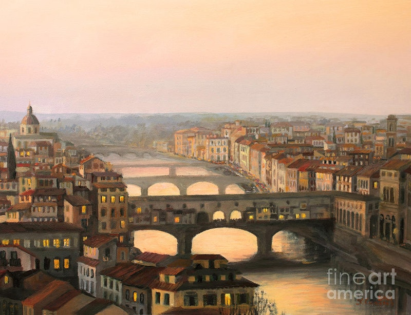 ancient painting of sunset over ponte vecchio