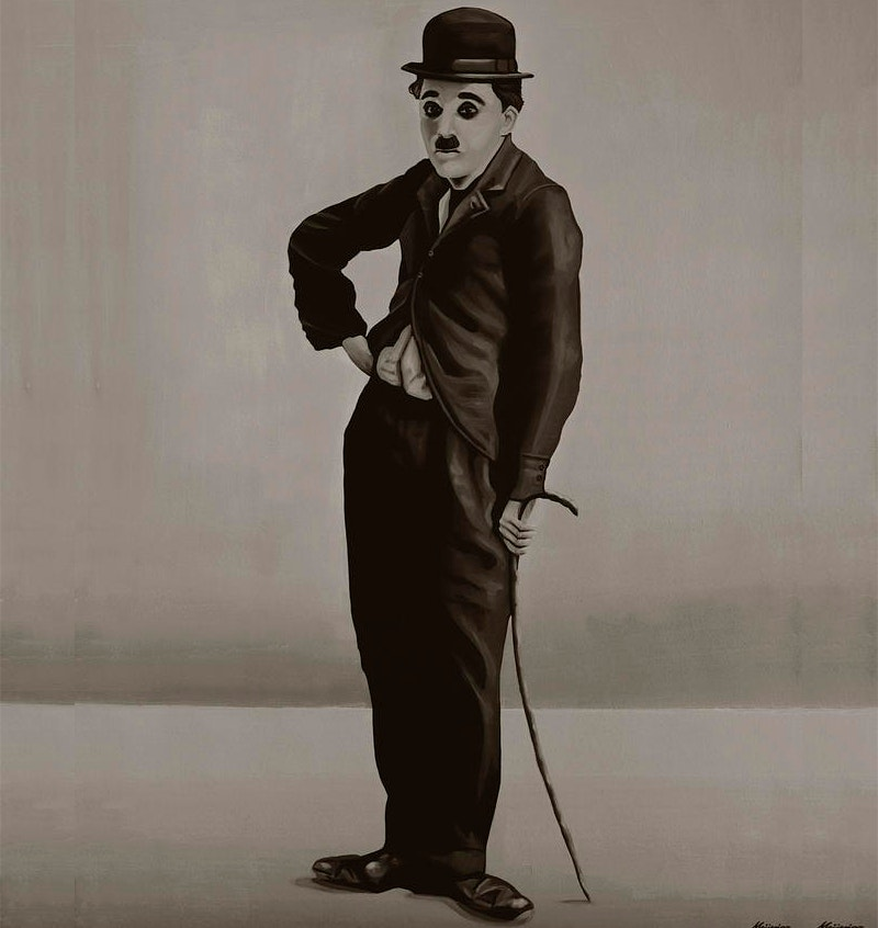 comic painting of charlie chaplin