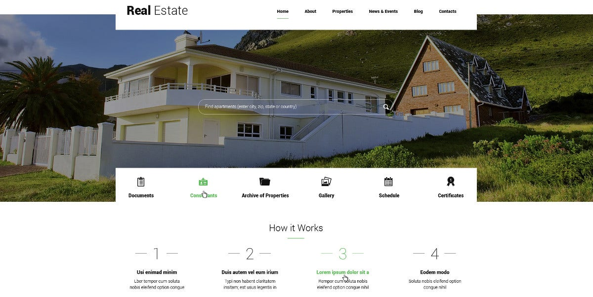 Real Estate Apartments WordPress Theme $75