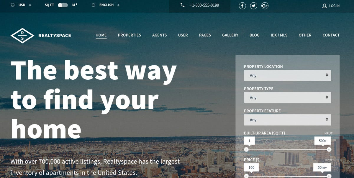 Real Estate Agency WordPress Theme $54