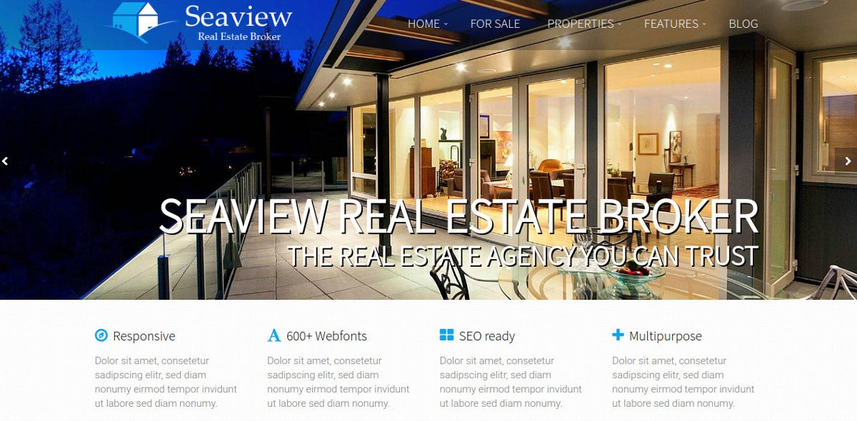 Real Estate Agent WordPress Theme $69