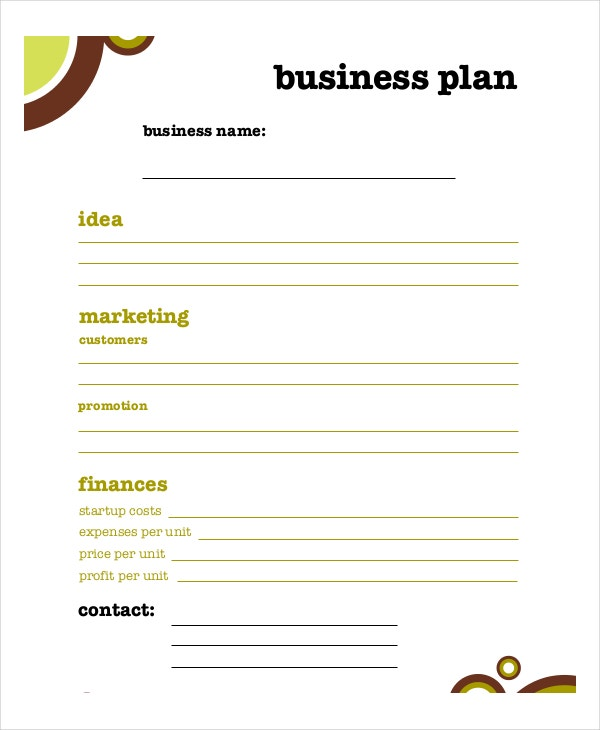 kids business plan free template