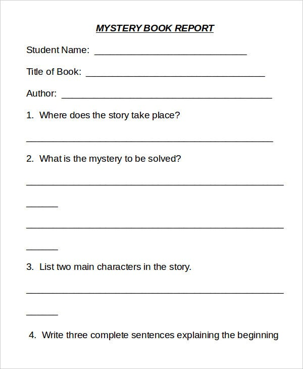 Book report template 9 free word pdf documents for Mystery novel outline template
