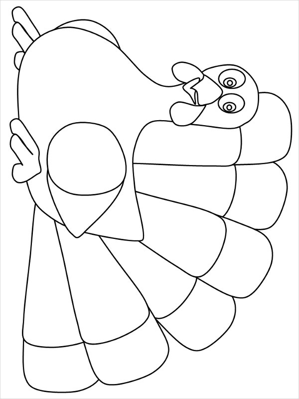 printable turkey coloring page template - Cartoon Template Printable
