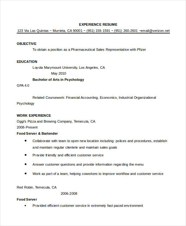 bartender resume templates free experienced cover letter examples template with picture