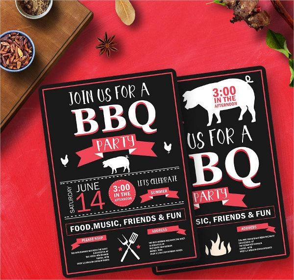 BBQ Friends Party Invitation Template