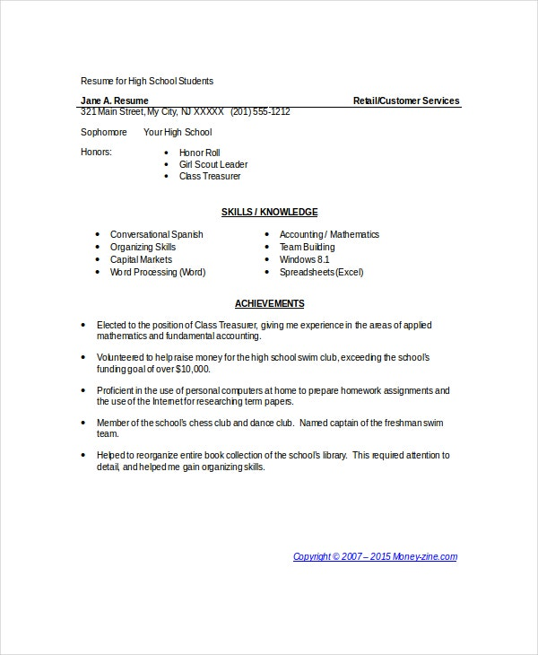 Computer Proficiency Resume Skills Examples Http Www Pinterest High School  Resume Objective Resume Template High School