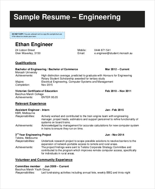 engineering student resume format 28 images year