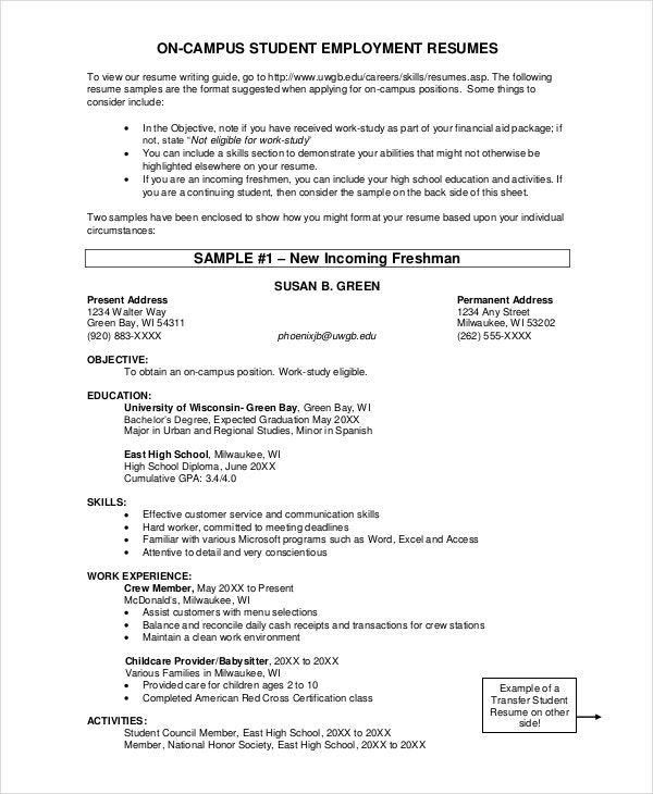 On Campus Student Employment Resumes  Sample Student Resume