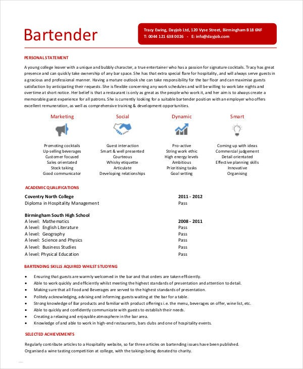 bartender resume template download sample objective microsoft word entry level