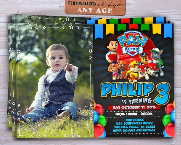 Invitation Templates Free PSD Vector EPS AI Format - Paw patrol invitation template