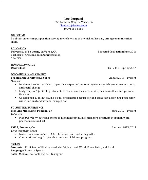 example student resumes example resumes for high school students - Resume Formatting Examples