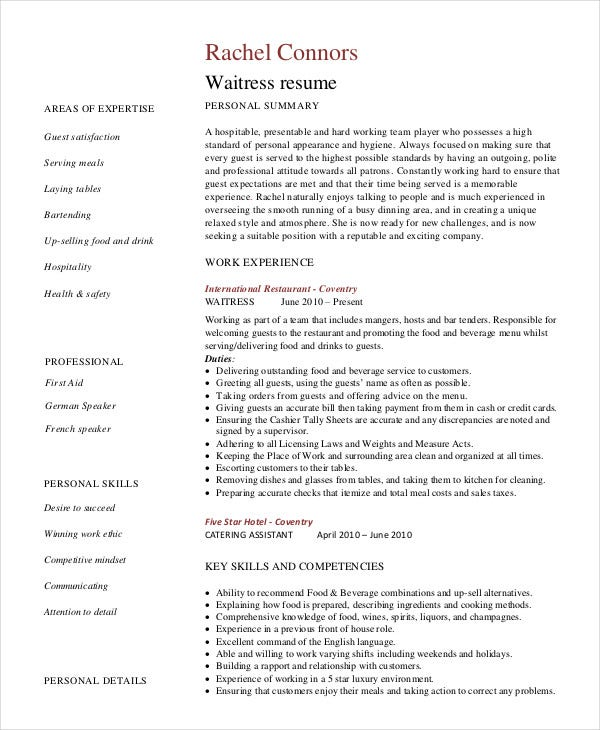resume for bartending